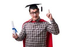 Студент супергероя при книги изолированные на белизне Стоковые Изображения RF