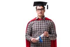 Студент супергероя при книги изолированные на белизне Стоковые Фотографии RF