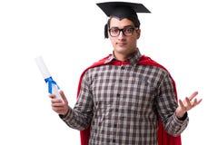 Студент супергероя при книги изолированные на белизне Стоковые Изображения