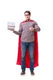 Студент супергероя при книги изолированные на белизне Стоковое Изображение