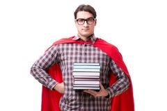 Студент супергероя при книги изолированные на белизне Стоковая Фотография RF