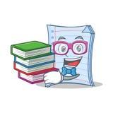 Студент с дизайном шаржа характера тетради книги иллюстрация штока
