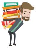 Студент с кучей иллюстрации вектора книг Стоковые Фото
