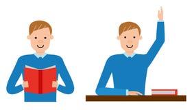 Студент учит материал в учебнике бесплатная иллюстрация