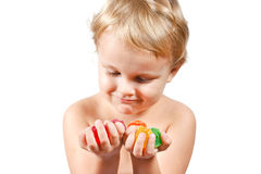 студень мальчика покрашенный конфетами немногая Стоковое Изображение RF