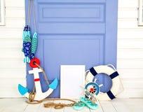 студия Белая комната Рамки фото тема голубого морского моря безшовная Стоковая Фотография