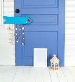 студия Белая комната Рамки фото тема голубого морского моря безшовная Стоковое Изображение