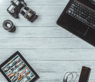 Студия дизайна фотографии камеры редактируя концепцию Стоковые Изображения