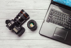 Студия дизайна фотографии камеры редактируя концепцию Стоковая Фотография RF