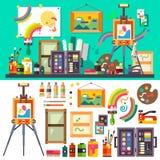 Студия искусства, инструменты для творческих способностей и дизайн Стоковые Фотографии RF