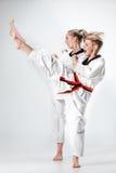 Студия сняла группы в составе дети тренируя боевые искусства карате Стоковое фото RF