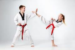 Студия сняла группы в составе дети тренируя боевые искусства карате Стоковые Фото