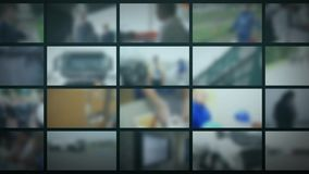 Студия ТВ Запачканная предпосылка с мониторами Предпосылка новостей видеоматериал