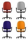 Стул офиса закручивая, на колеса, с backrest и подлокотниками, 4 красит варианты, вид спереди Стоковые Фото