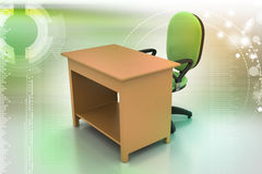 Стул офиса и таблица компьютера Стоковая Фотография RF