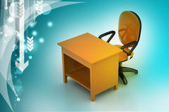 Стул офиса и таблица компьютера Стоковое фото RF