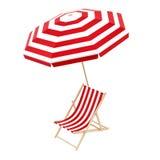 Стул палубы с зонтиком Стоковая Фотография
