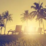 стул пляжа обнаружил местонахождение взморье курорта Стоковая Фотография RF