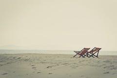 стул пляжа обнаружил местонахождение взморье курорта Стоковые Фото