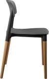Стул серого цвета пластичный, современный дизайнер Стул на деревянных ногах изолированных на белой предпосылке вектор интерьера и Стоковая Фотография RF