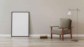 Стул с деревянными ногами в интерьере Стоковое Изображение
