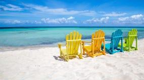 стулы caribbean пляжа Стоковое Фото