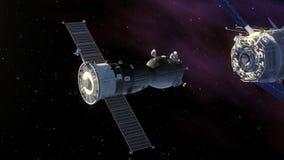 Стыковка корабля и космической станции иллюстрация вектора