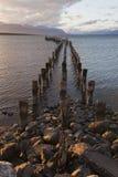 Стыковка на береговой линии Puerto Natales. Стоковые Фото
