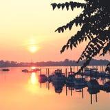 стыкует восход солнца Стоковое Изображение