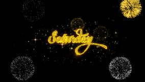 Субботы золотые текста моргать частицы с золотым дисплеем фейерверков иллюстрация штока