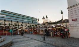 Сувенирный магазин на рынке Havel во второй неделе пришествия в рождестве стоковое изображение