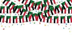 Судан сигнализирует предпосылку гирлянды белую с confetti, овсянкой вида на День независимости Судана иллюстрация штока