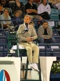 судья на вышке тенниса стула Стоковая Фотография