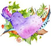 Суккулентные заводы, кактус, красные цветки, листья зеленого цвета и пер в форме сердца Стоковое Изображение RF