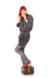 сумасбродная женщина чемодана Стоковое Изображение
