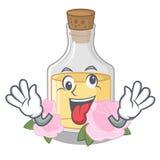 Сумасшедшее розовое масло полило внутри бутылку мультфильма иллюстрация штока