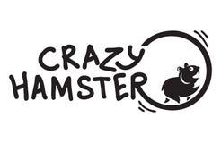 Сумасшедший хомяк runnning смешной логотип иллюстрация штока
