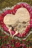 Сумасшествие цветка Девушка в рамке роз на предпосылке сердца стоковая фотография rf