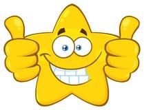 Сумашедший желтый шарж Emoji звезды смотрит на характер с шальным выражением и выступая языком иллюстрация штока
