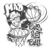 Сумашедшая иллюстрация вектора дизайна печати футболки шлема баскетбола Иллюстрация вектора