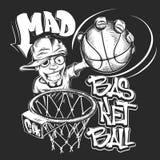 Сумашедшая иллюстрация вектора дизайна печати футболки шлема баскетбола Бесплатная Иллюстрация