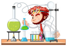Сумашедший ученый смешивает химикат в лаборатории иллюстрация штока