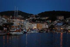 Сумерк в гавани Мали Losinj, Хорватии Стоковые Фотографии RF