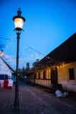 Сумерк в старом городке (iv) - Орхусе, Дании Стоковая Фотография RF
