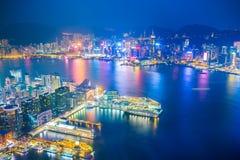Сумерк гавани Виктории в Гонконге, Китае Стоковые Изображения RF
