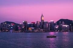 Сумерк гавани Виктории Гонконга Стоковое Фото