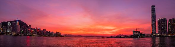 Сумерк гавани Виктории Гонконга Стоковые Фотографии RF
