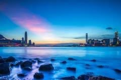 Сумерк гавани Виктории, Гонконга Стоковые Изображения RF
