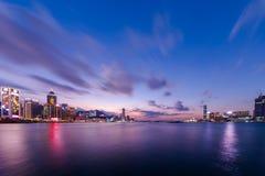 Сумерк гавани Виктории, Гонконга Стоковые Фотографии RF