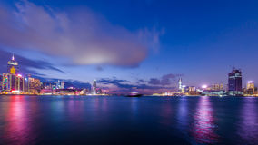 Сумерк гавани Виктории, Гонконга Стоковое фото RF